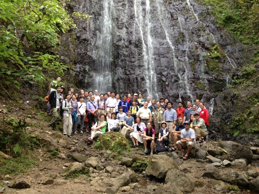 Participants of the US-Japan Joint Seminar at the Waihe'e waterfall - March 2013.